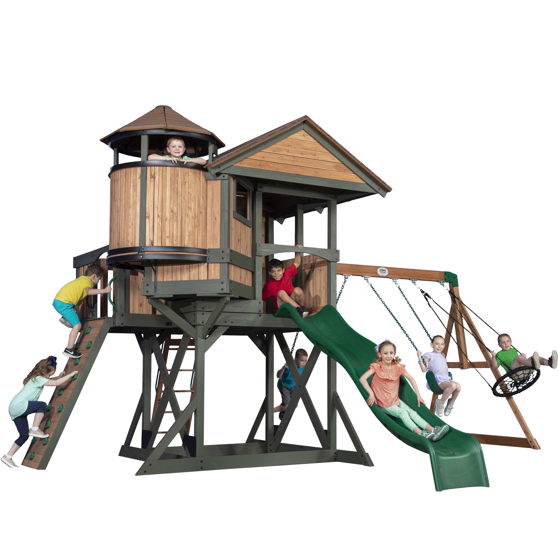 Grande aire de jeux en bois nid d'aigle