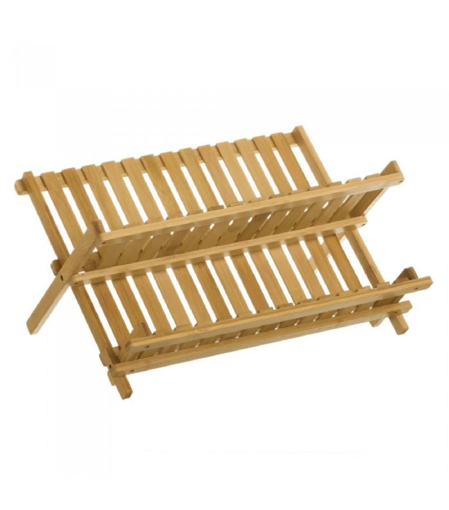 Égouttoir à vaisselle en bambou pliable