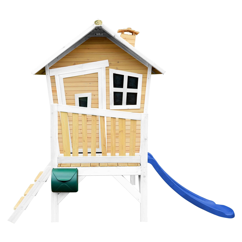 Maisonnette en bois avec toboggan bleu