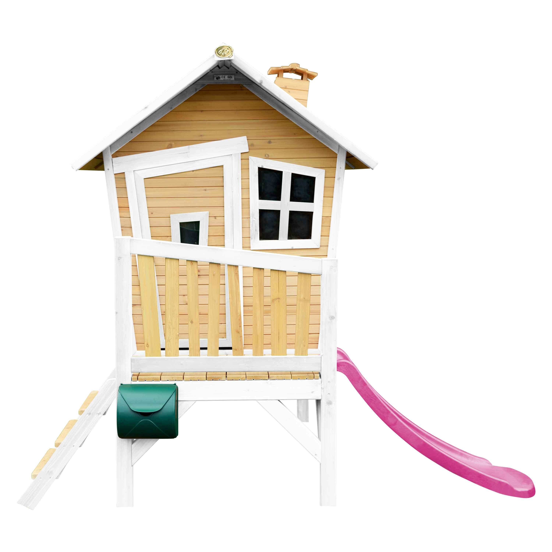 Maisonnette en bois avec toboggan violet