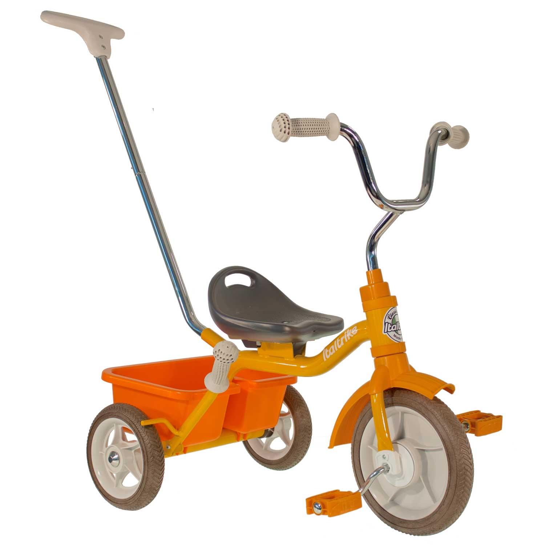 Tricycle métal orange avec canne et benne