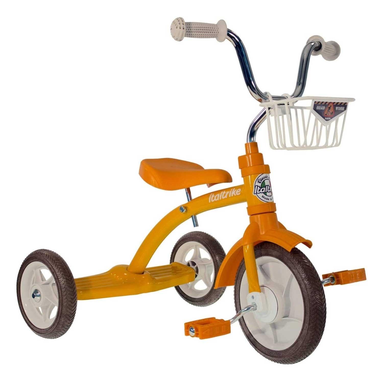 Tricycle retro orange en métal pour les enfants de 2 à 5 ans