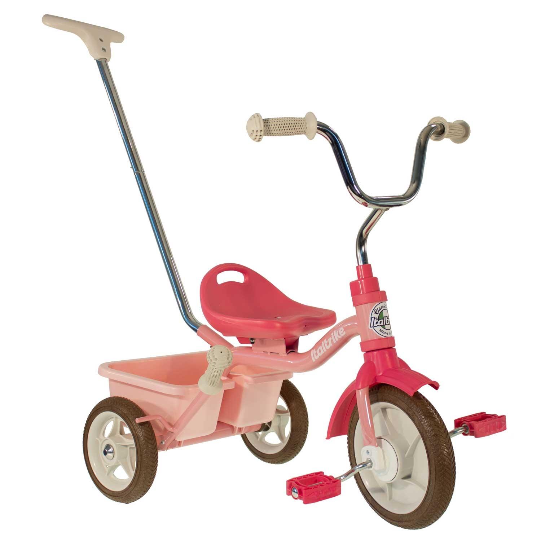 Tricycle en métal rose avec canne et benne