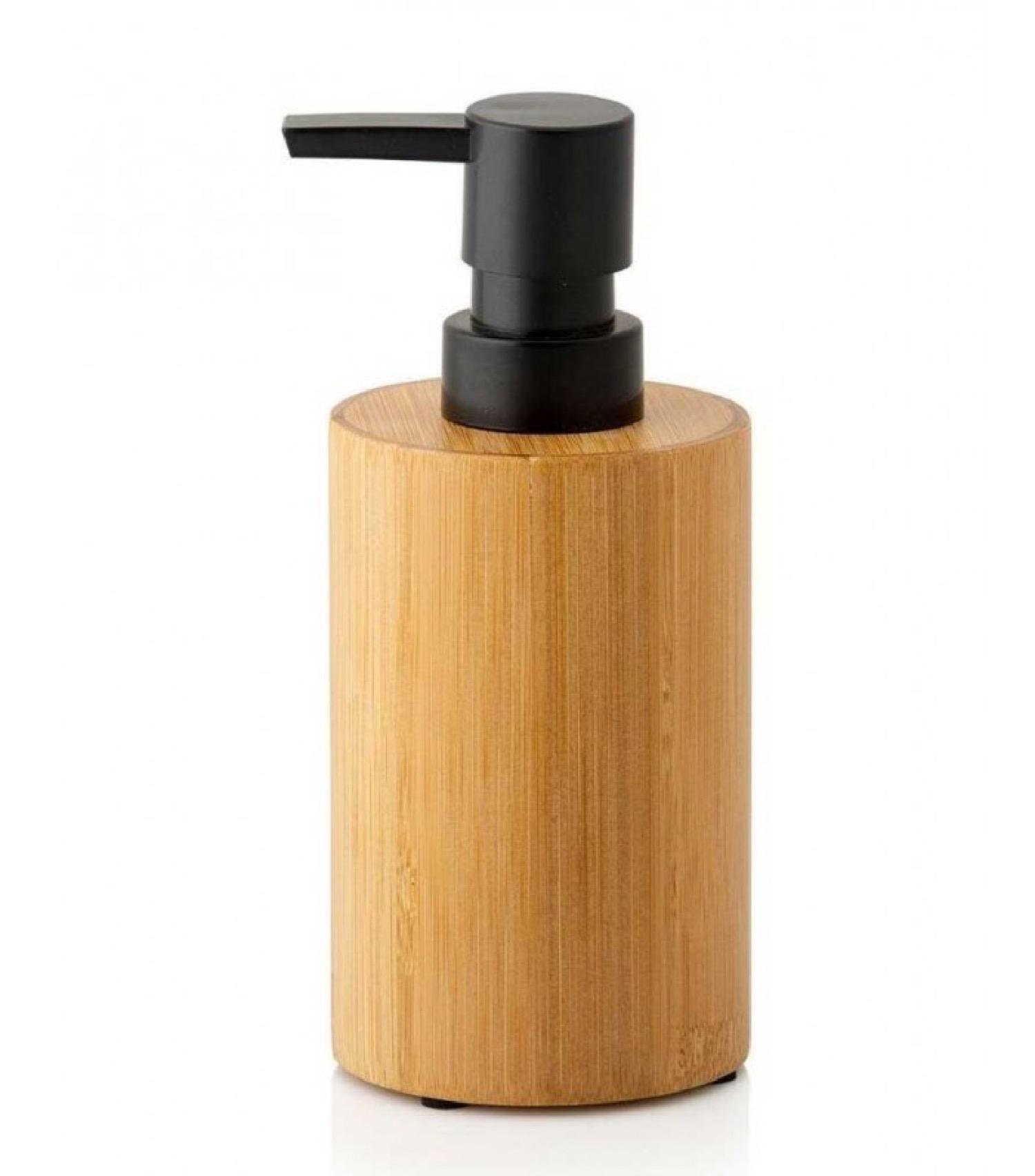 Distributeur de savon en bambou et polyrésine noire