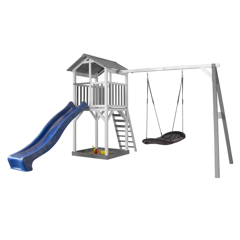 Aire de jeu aire de jeux avec 1 balançoire nid ovale et toboggan bleu