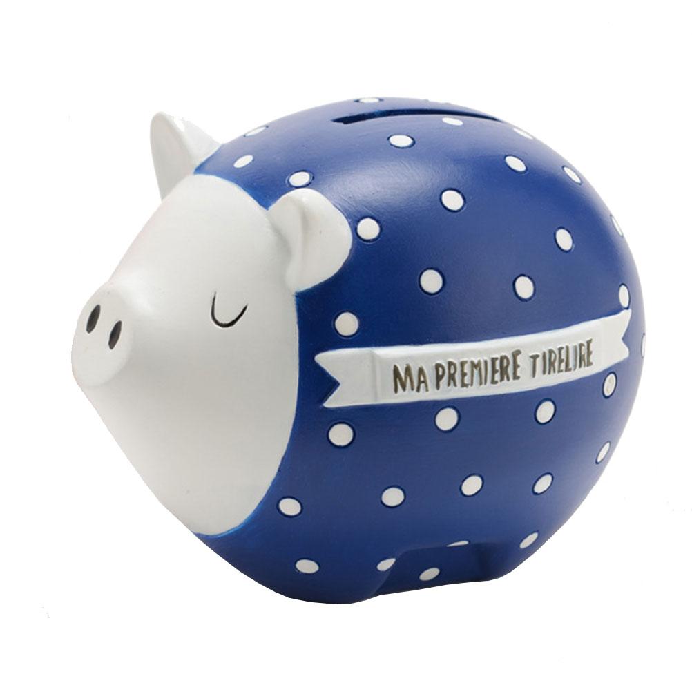 Ma première tirelire cochon bleu