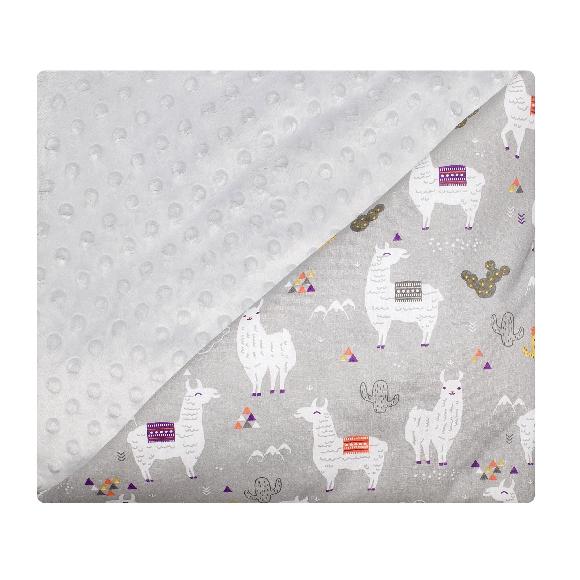 Couverture bébé coton et minky gris