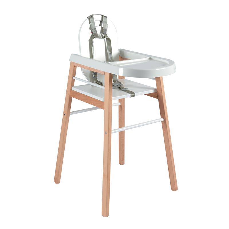 Chaise haute bébé  bicolore blanc - 52x96 cm