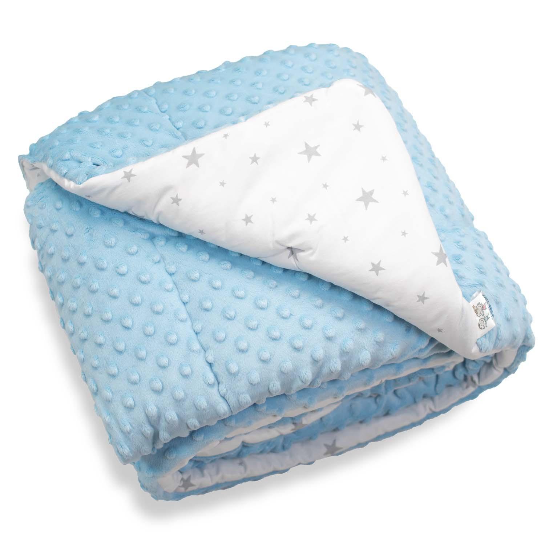 Couverture bébé coton et minky bleu