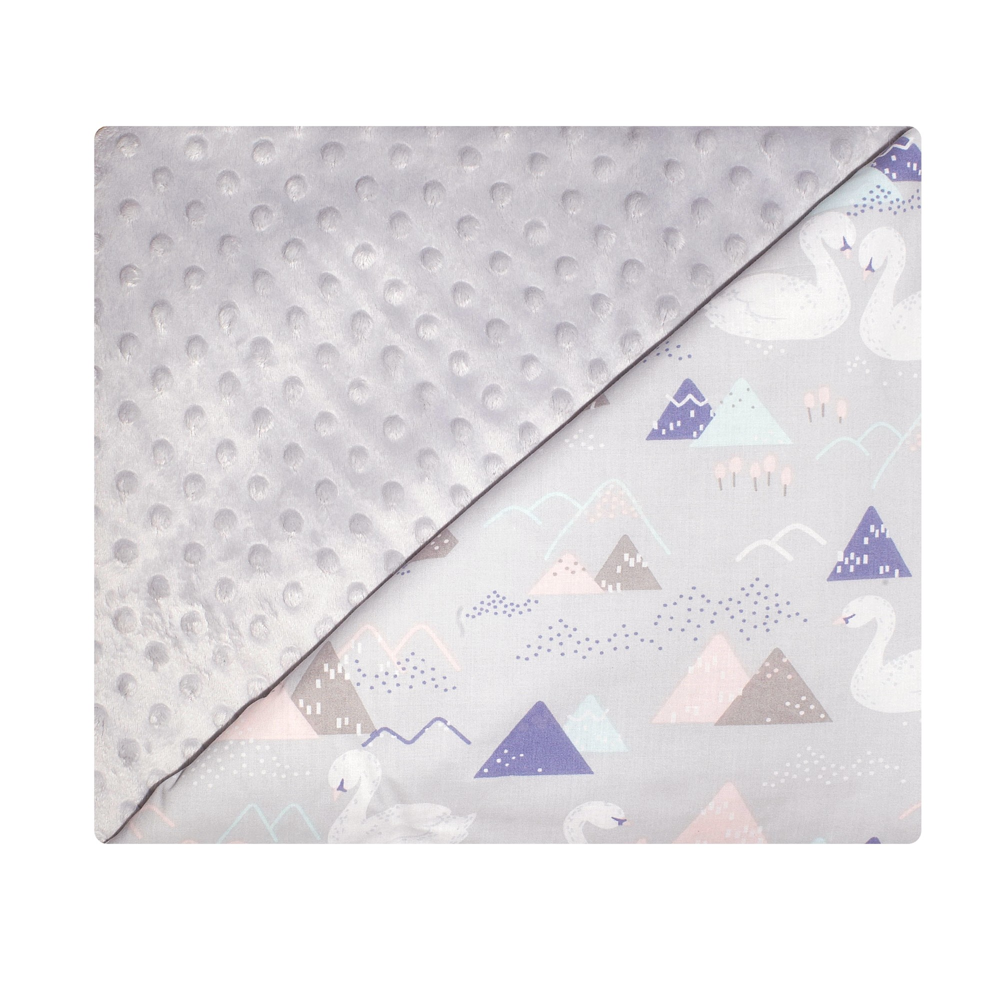 Couverture bébé en coton et minky gris