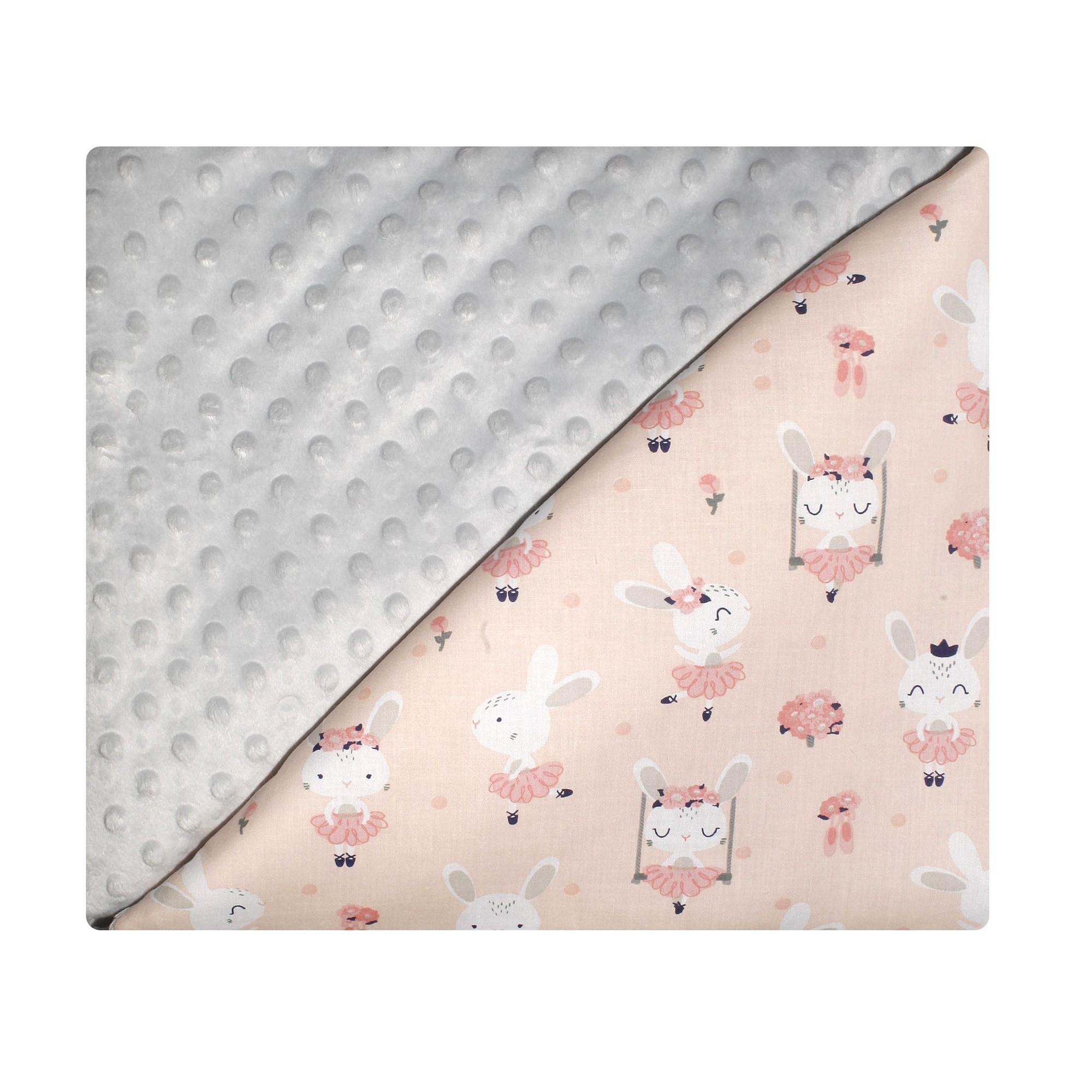 Couverture bébé coton et minky abricot