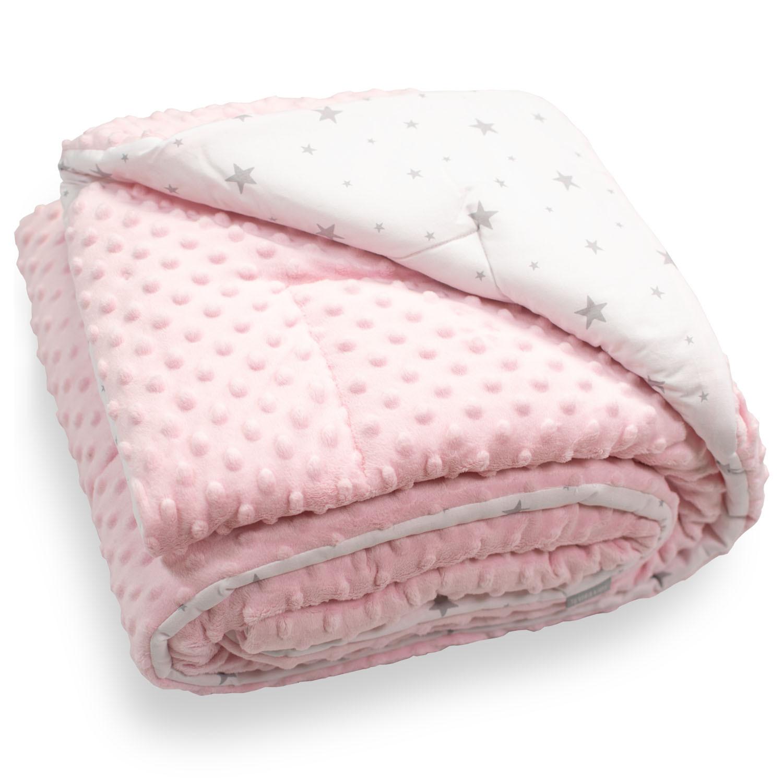 Couverture bébé coton et minky rose