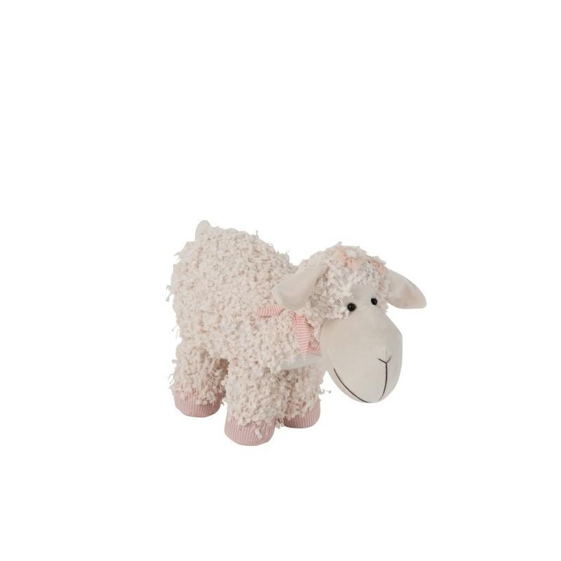 Cale porte mouton textile beige/rose H26cm