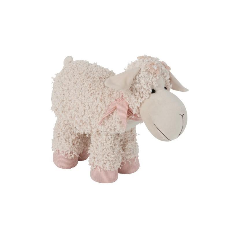 Cale porte mouton textile beige/rose H12cm