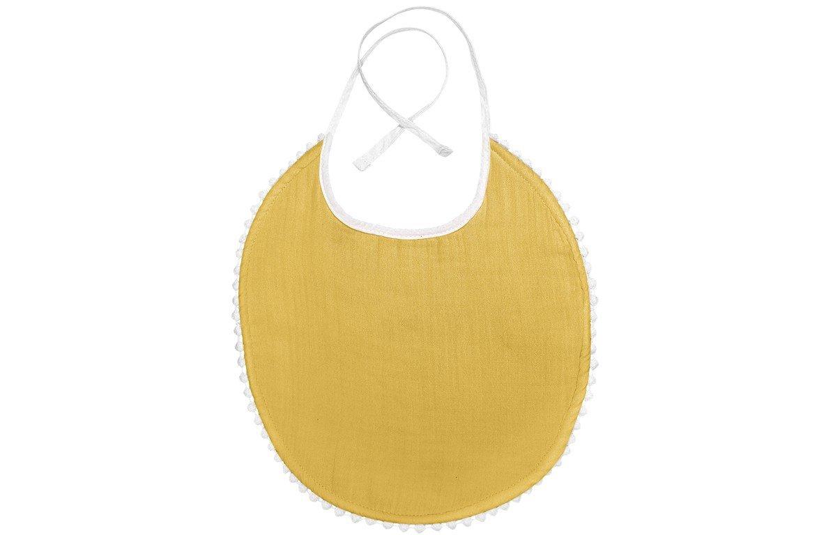 Bavoir bébé en mousselin style London coton jaune moutarde