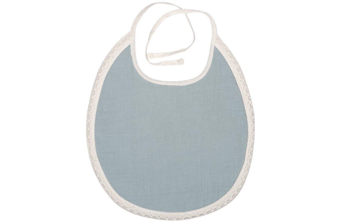 Bavoir bébé en mousseline style Paris coton bleu