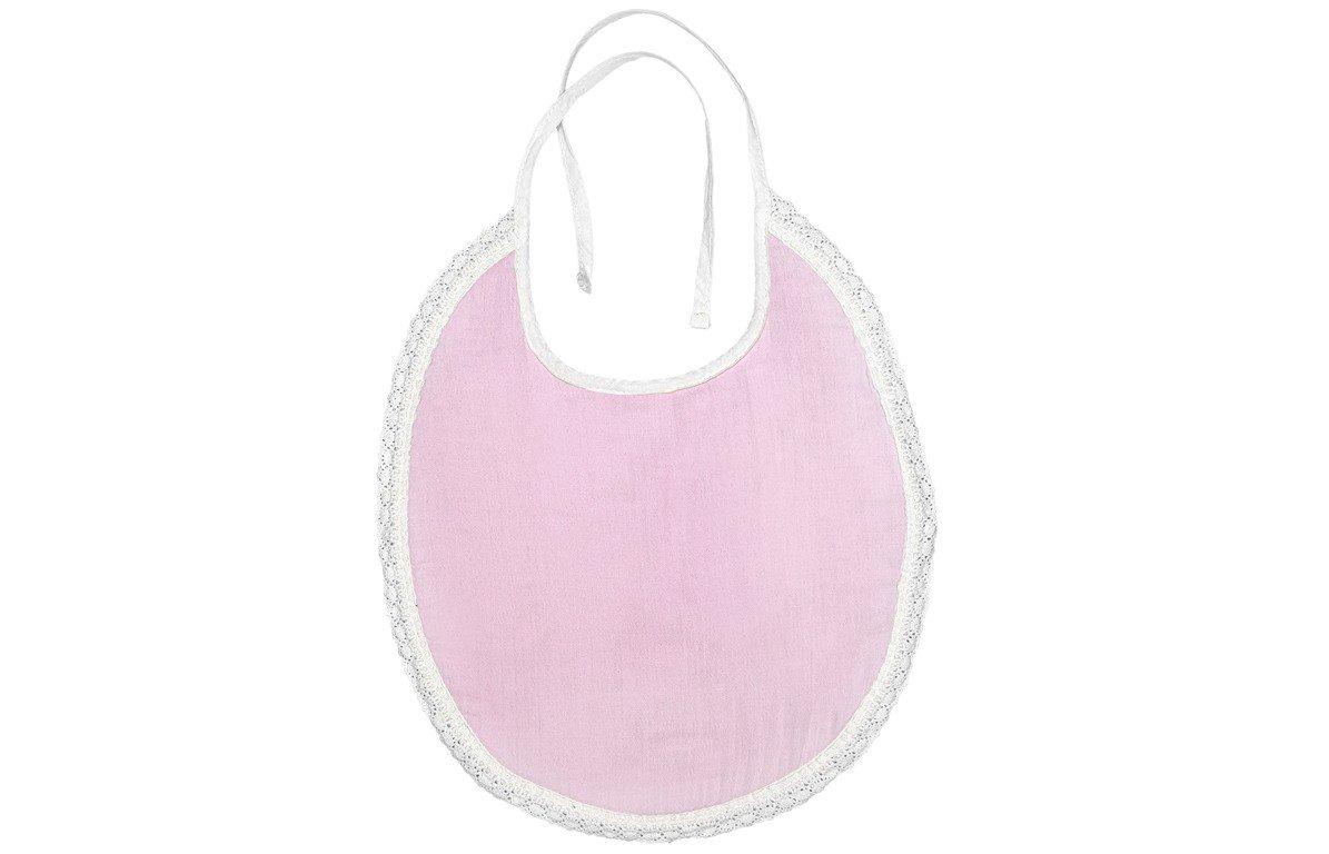 Bavoir bébé en mousseline style Paris coton rose
