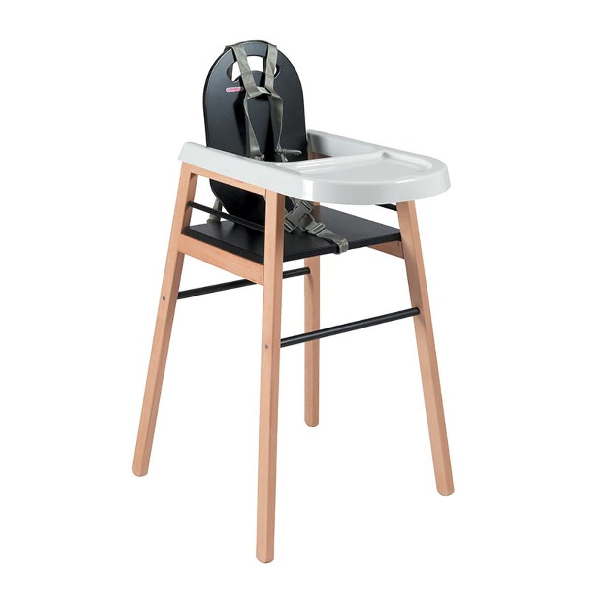 Chaise haute bébé  bicolore noir - 52x96 cm