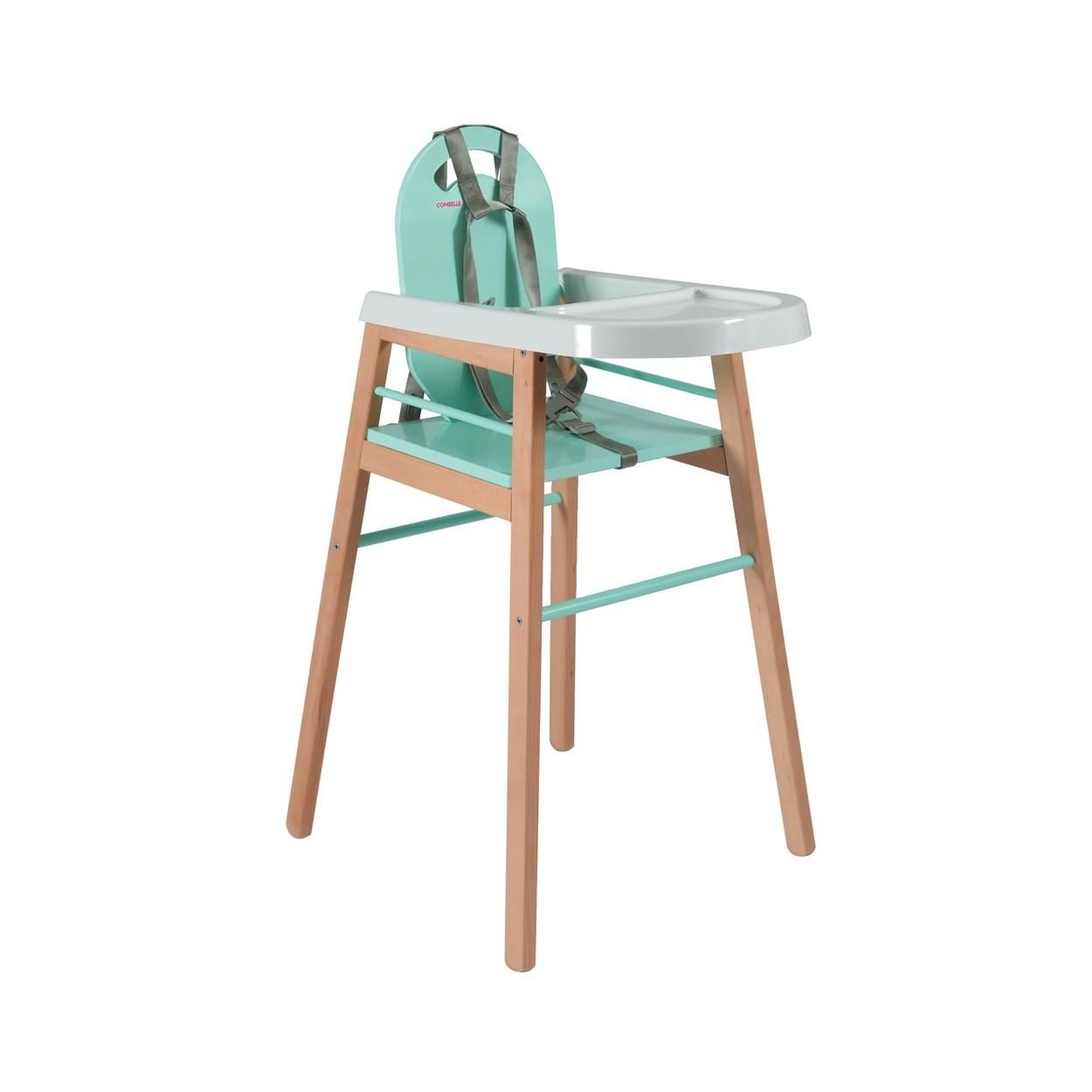 Chaise haute bébé  bicolore vert menthe - 52x96 cm