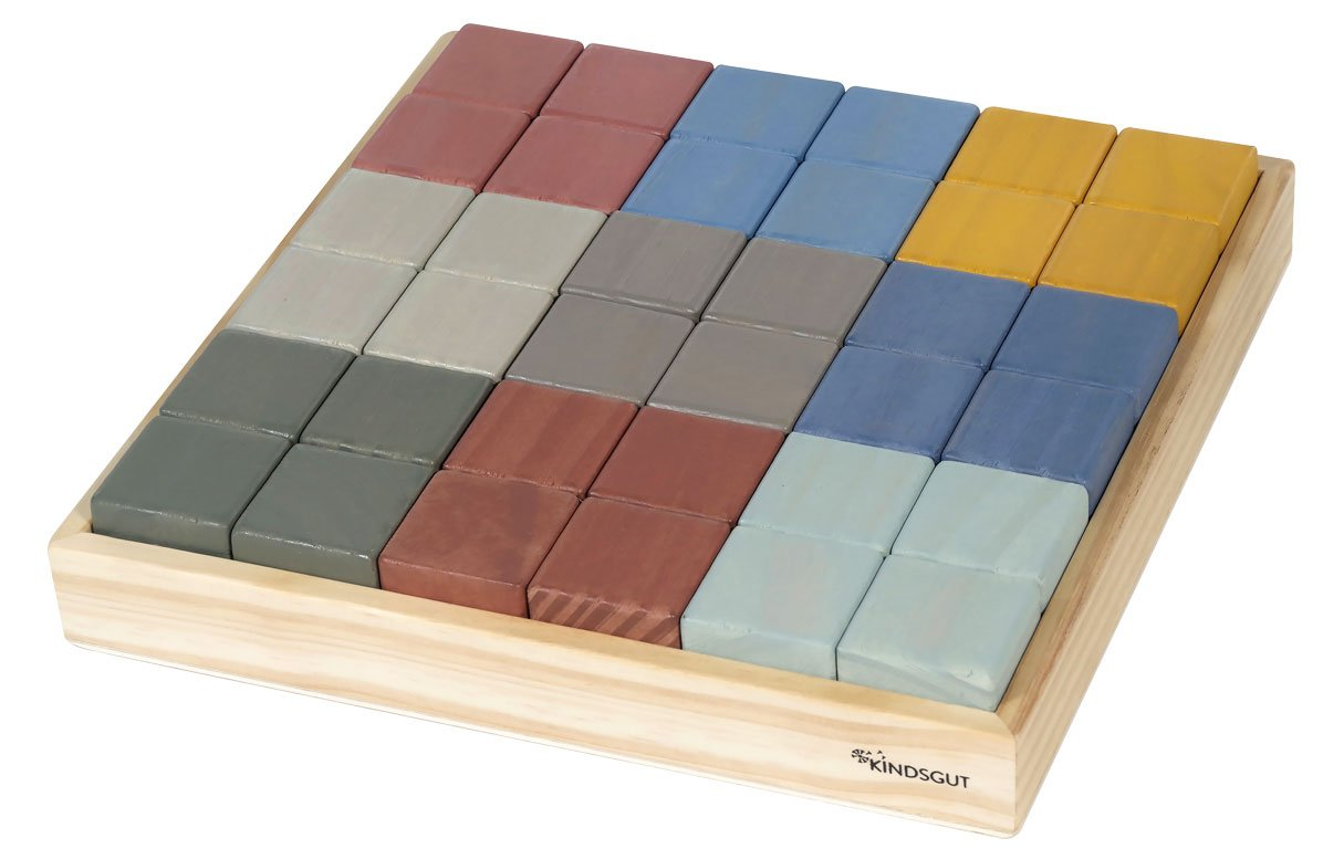 Blocs de construction en bois multicolore