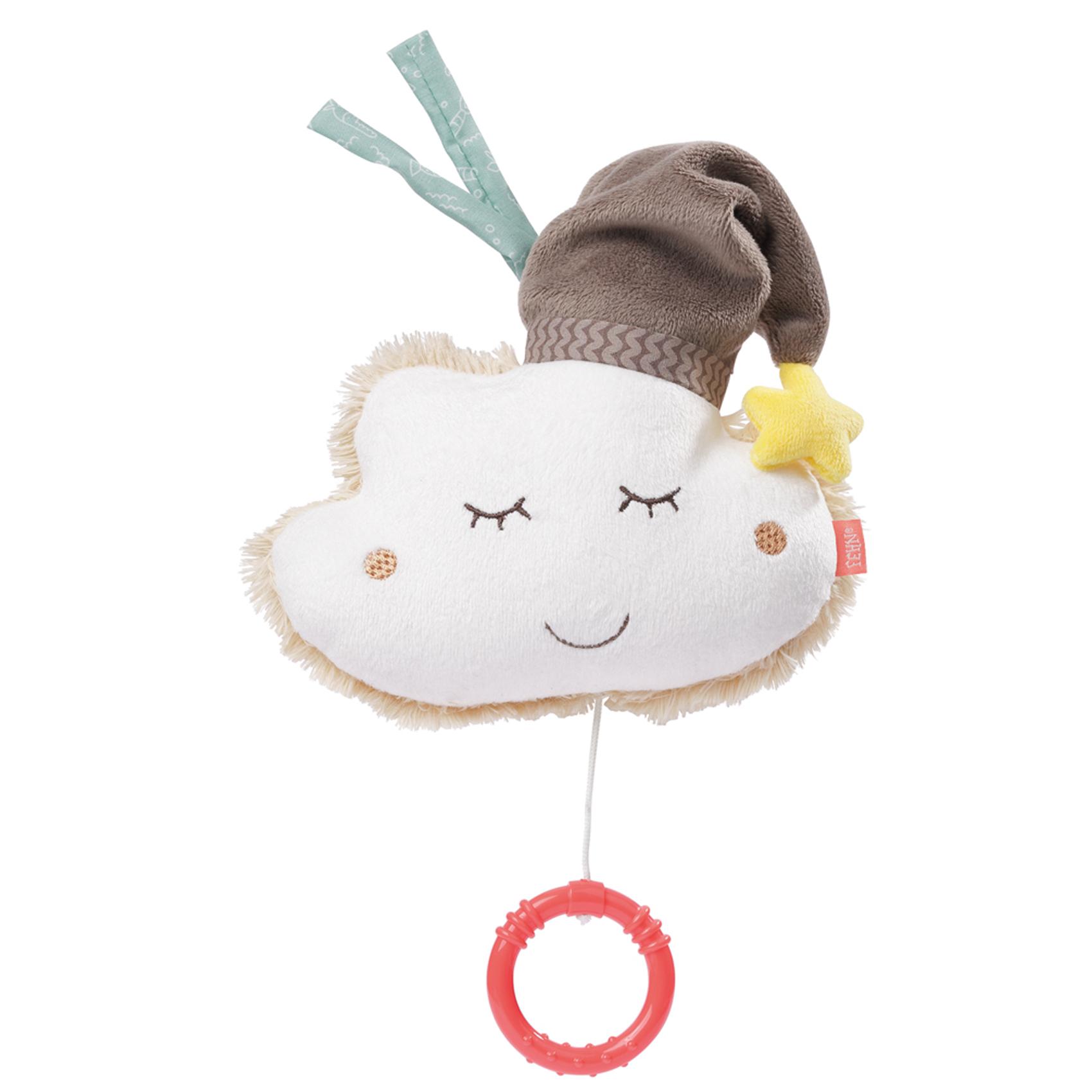 Peluche musicale bébé nuage Ecru/Chocolat 14 cm