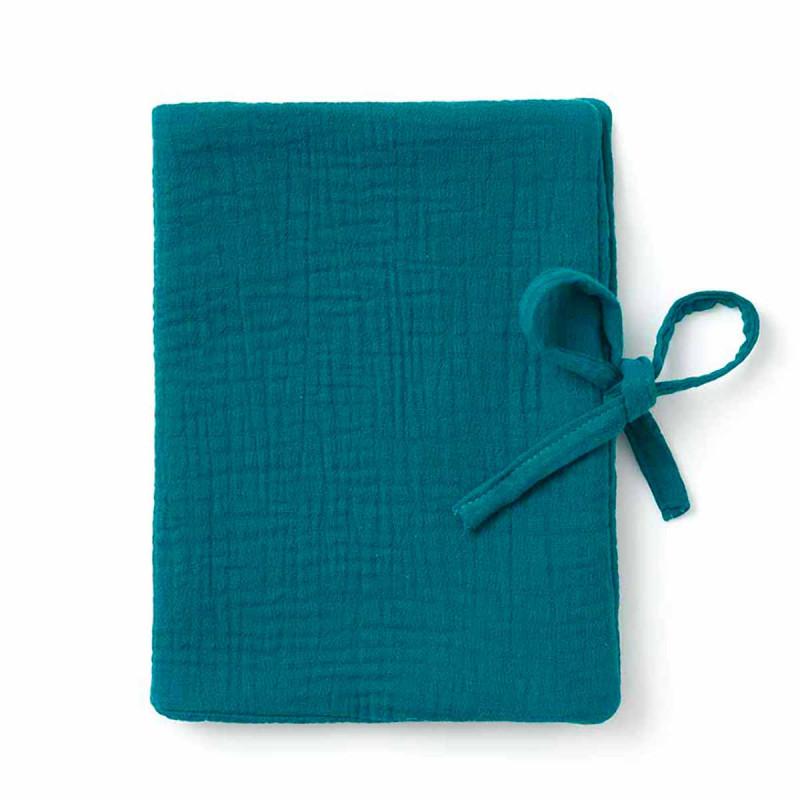 Protège carnet de santé  bleu paon