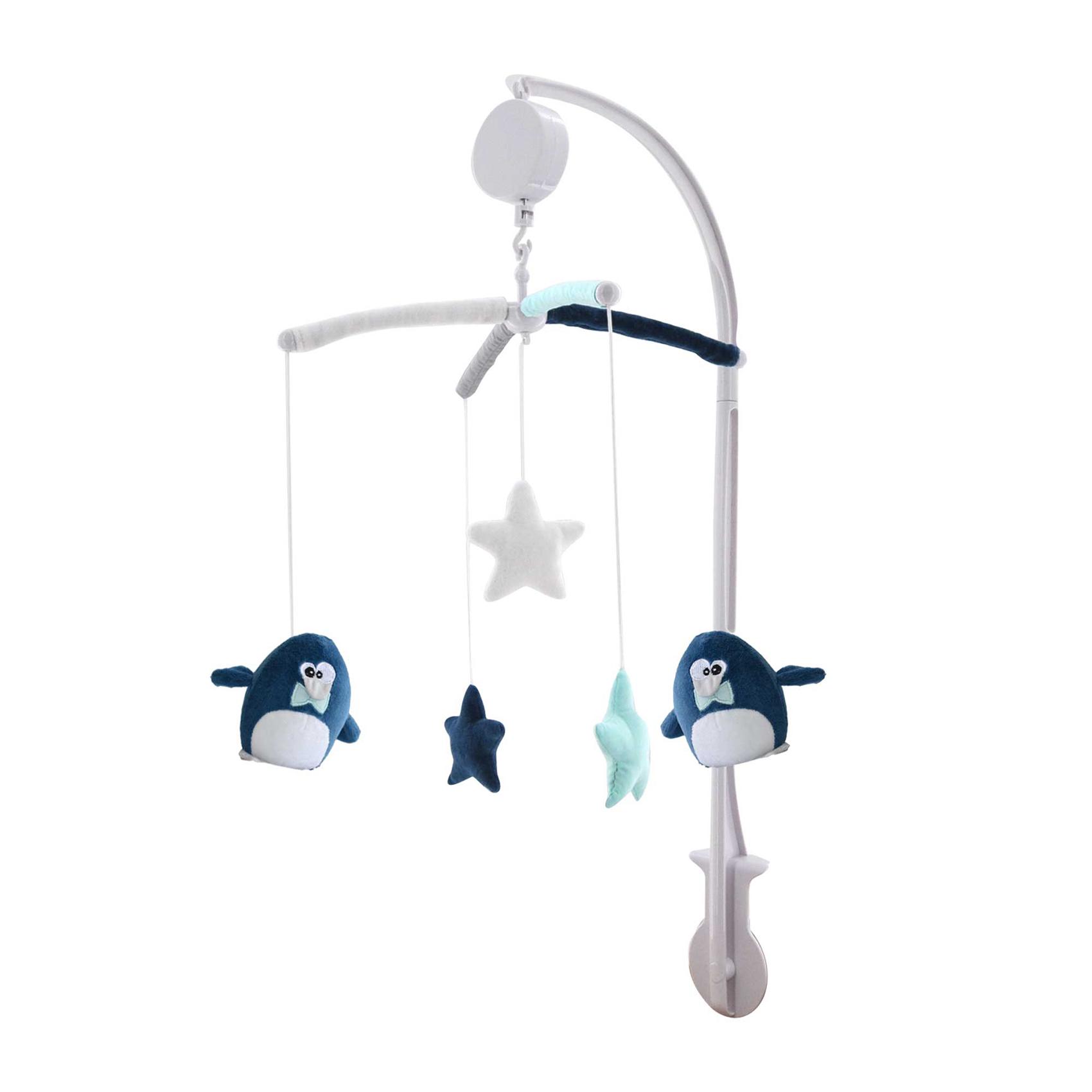 Mobile musical bébé Pingou Bleu 60x40