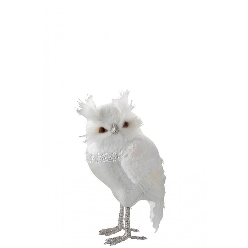 Hibou debout peluche/plumes blanc/argent H30,5cm