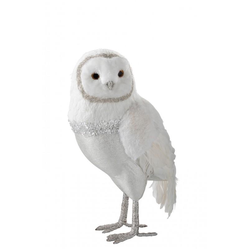 Hibou debout peluche/plumes blanc/argent H41cm