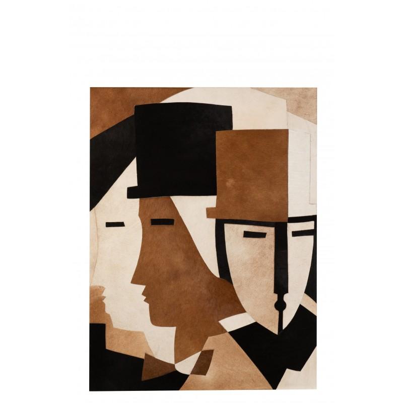 Cadre rectangulaire visage chapeau cuir marron/noir 90x120cm