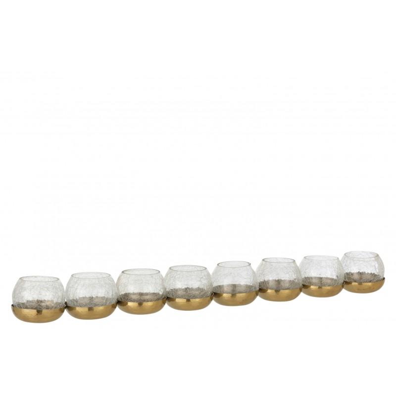 Photophore 8 boules craquelé verre/acier inoxydable or
