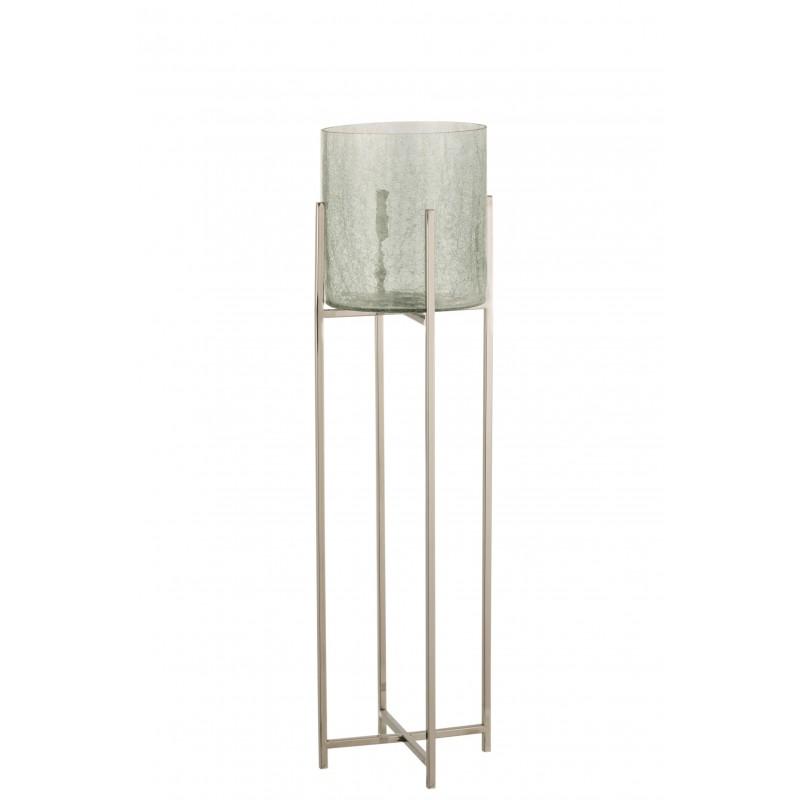 Photophore craquelé verre/acier inoxydable argent H103cm