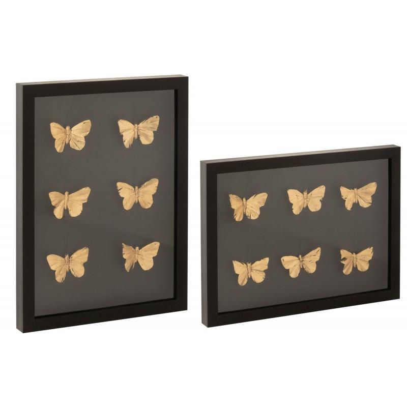 Cadre photo papillons rectangulaire mdf noir 40,5x30,5cm - Lot de 2