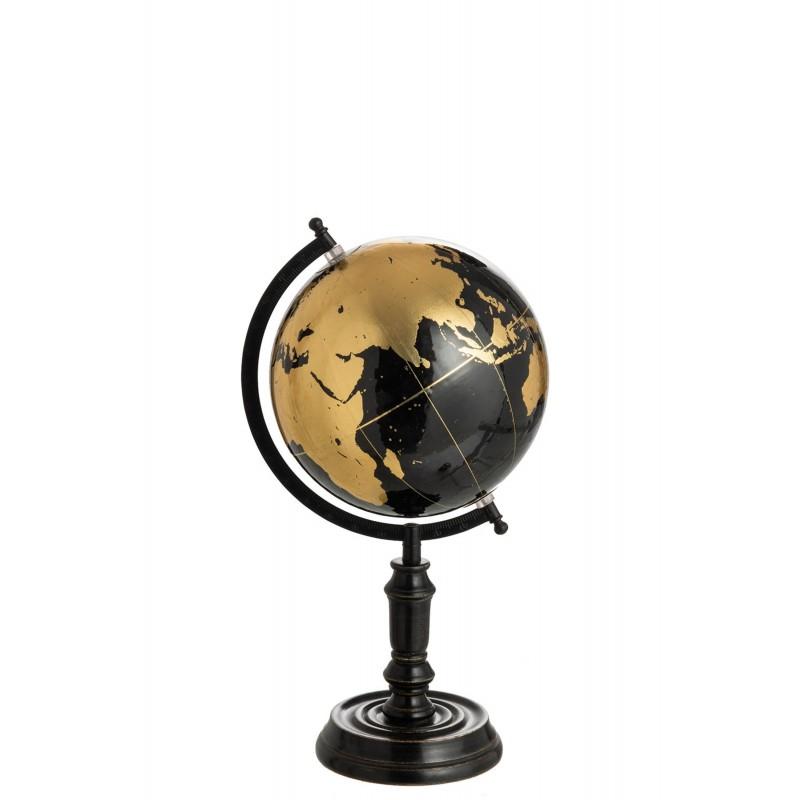 Globe sur pied bois noir/or H41cm