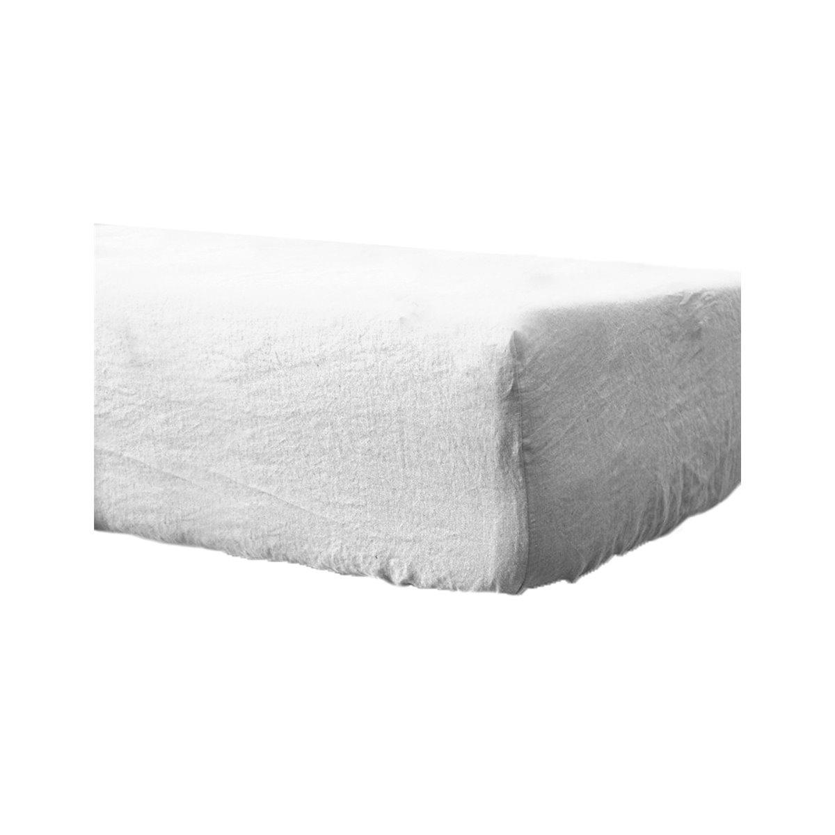 Drap housse en lin lavé bonnet 30cm Blanc 140x190 cm