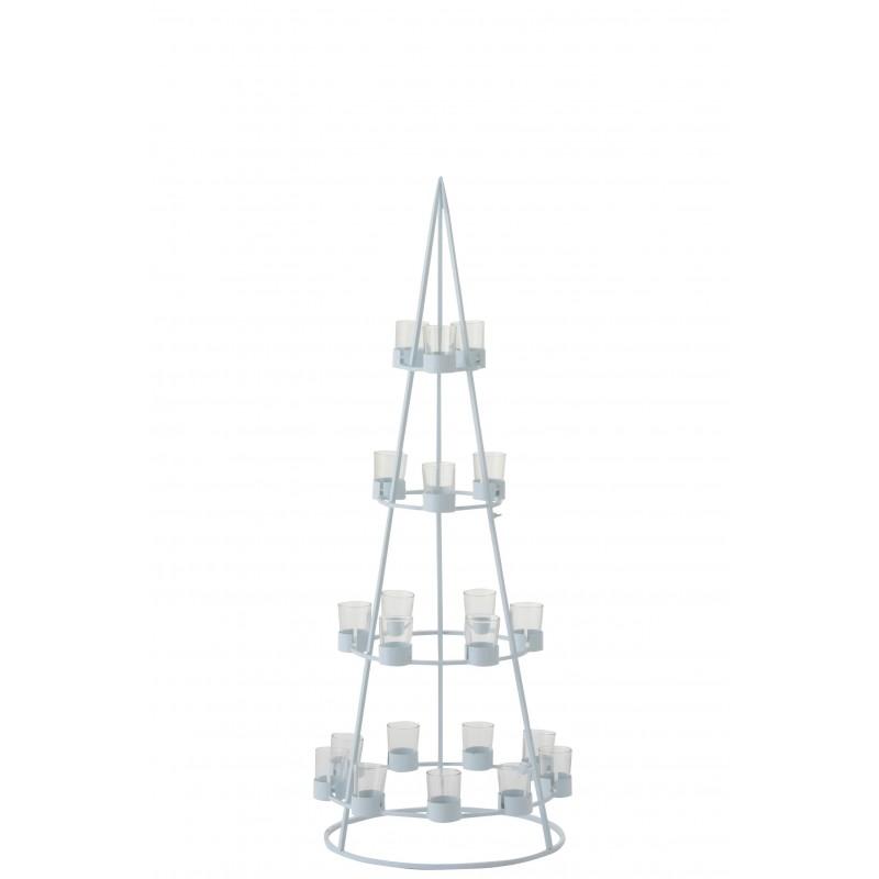 Arbre 21 photophores métal/verre blanc H110cm