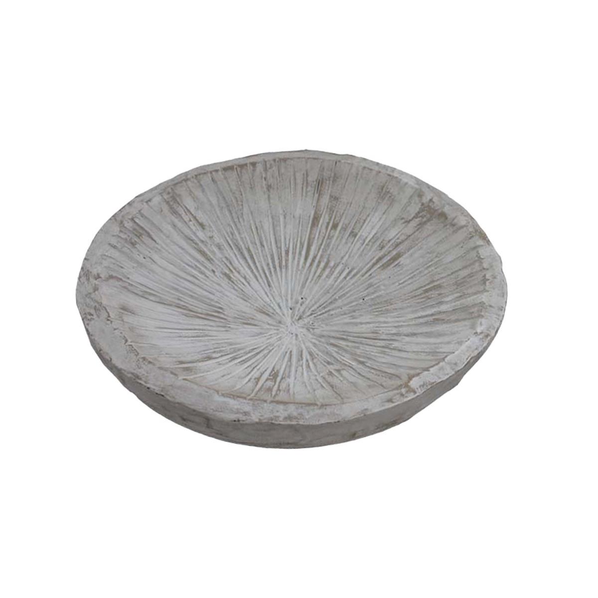 Coupe en bois strié Blanc 24x24x7 cm