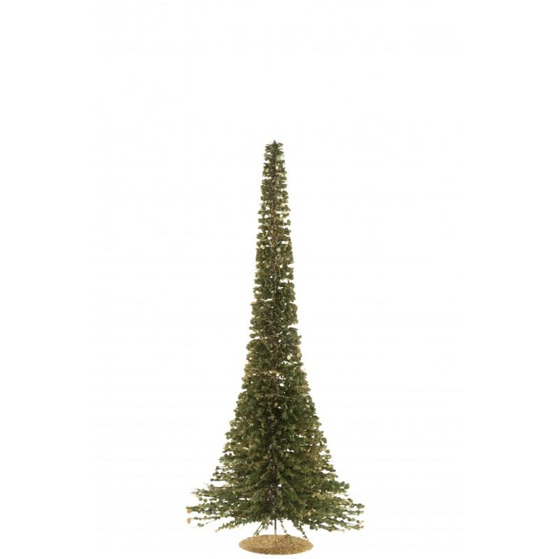Arbre décoratif plastique vert paillettes or H80cm