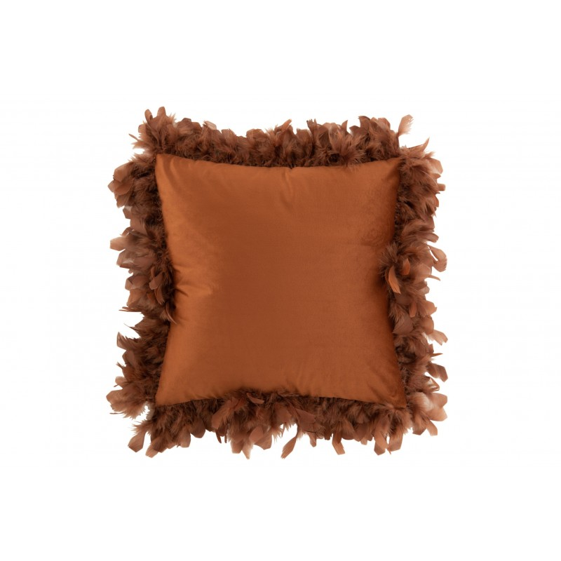 Coussin plumes polyester rouille 45x45cm