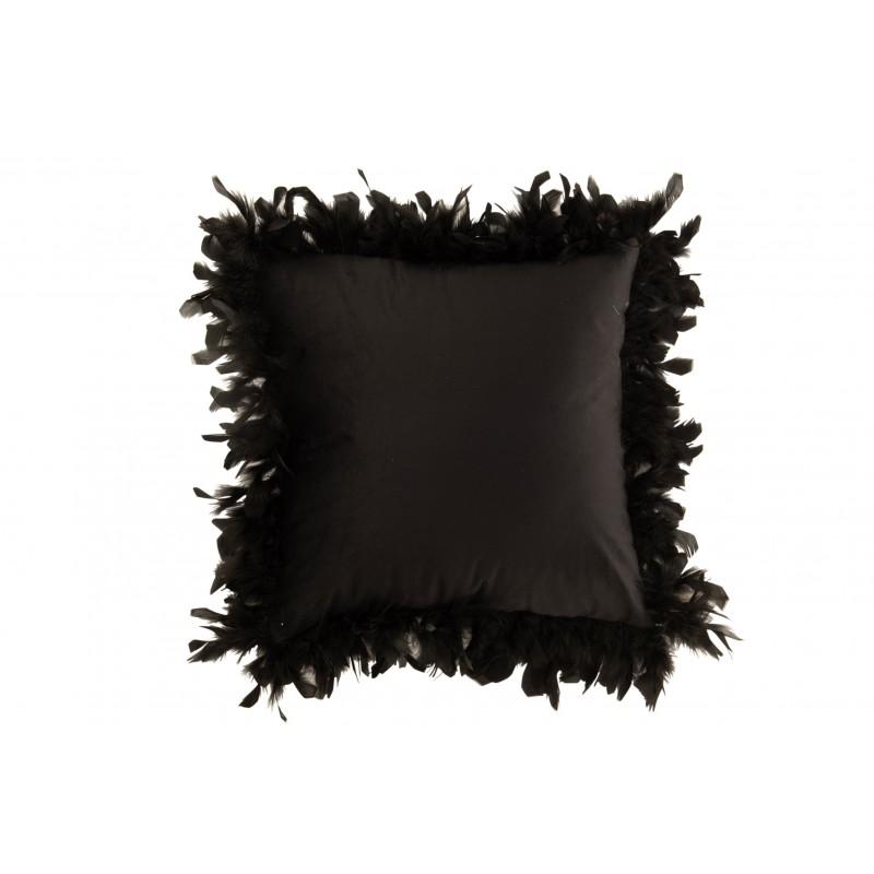 Coussin plumes polyester noir 45x45cm