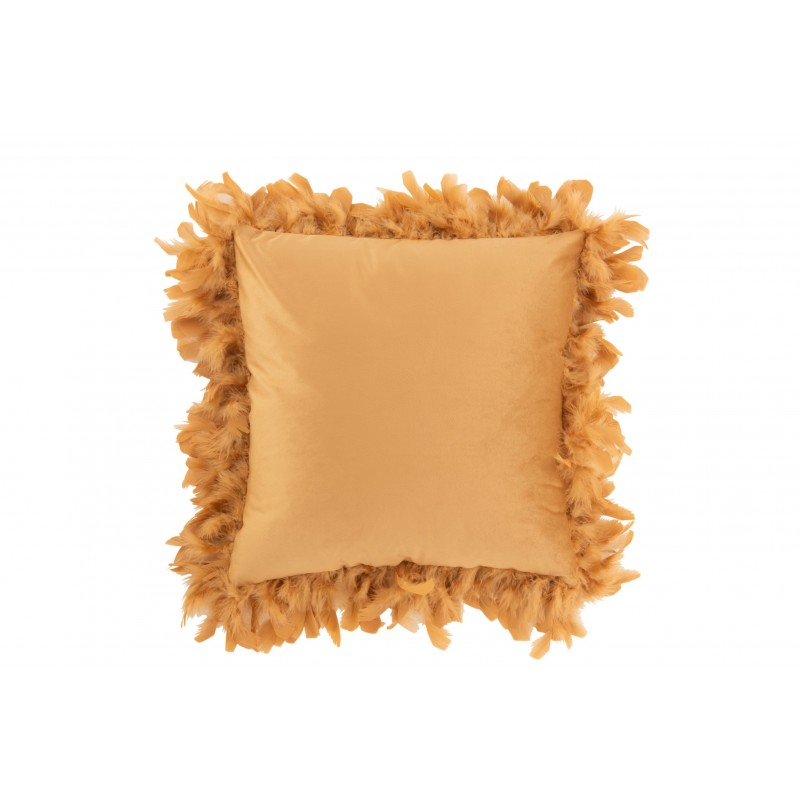 Coussin plumes polyester or/marron 45x45cm