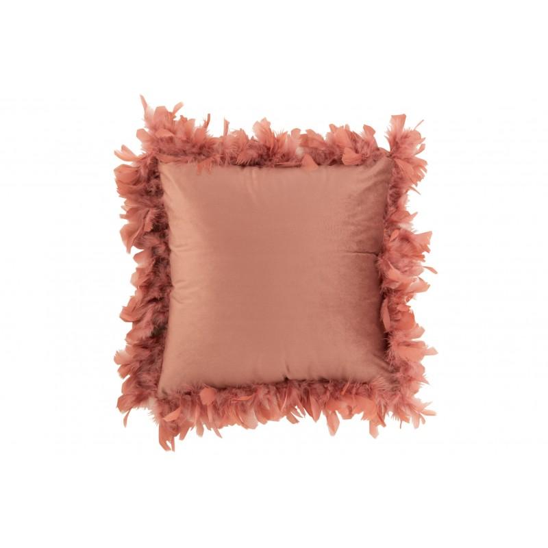 Coussin plumes polyester rose foncé 45x45cm