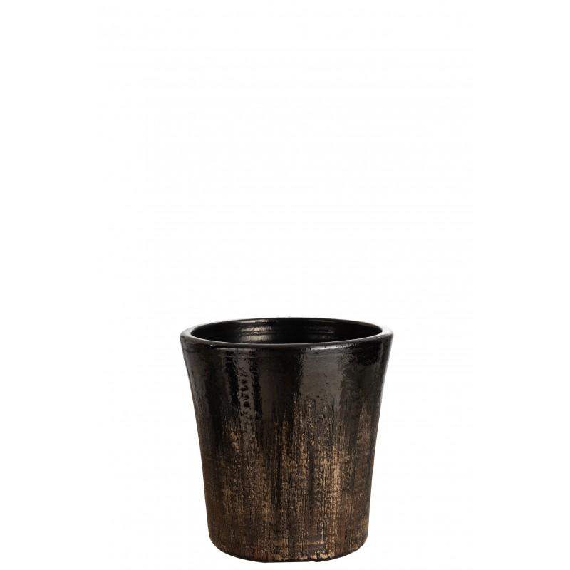 Cache-pot céramique noir/or H25,5cm