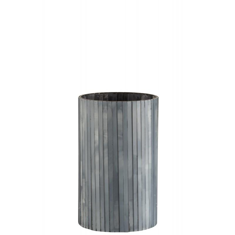 Photophore cylindrique verre gris bleu H20,5cm