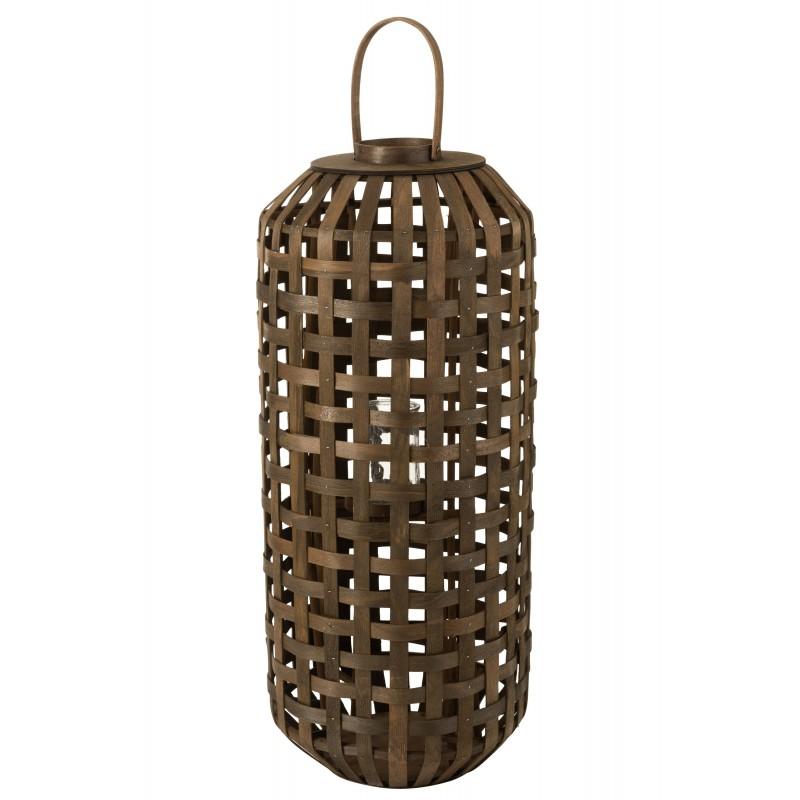 Lanterne cylindrique bois marron foncé H95,5cm