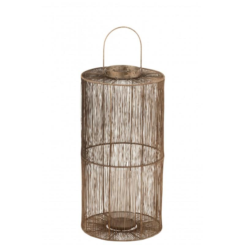 Lanterne métal marron H60cm