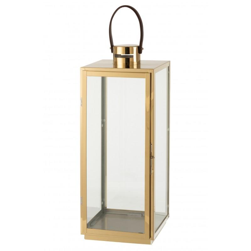 Lanterne carrée métal/verre or H65cm