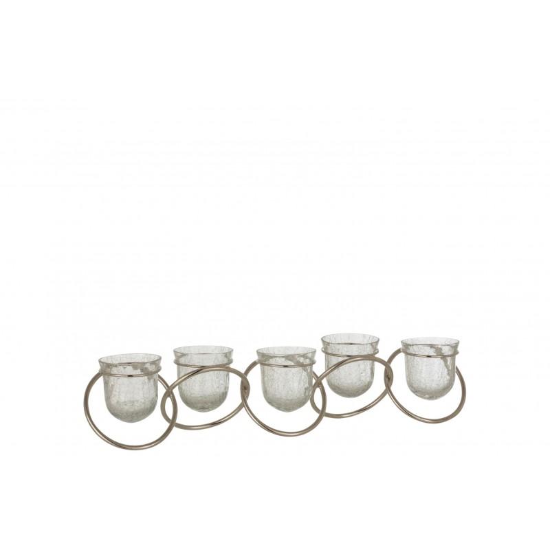 Photophore 5 anneaux craquelés verre nickel