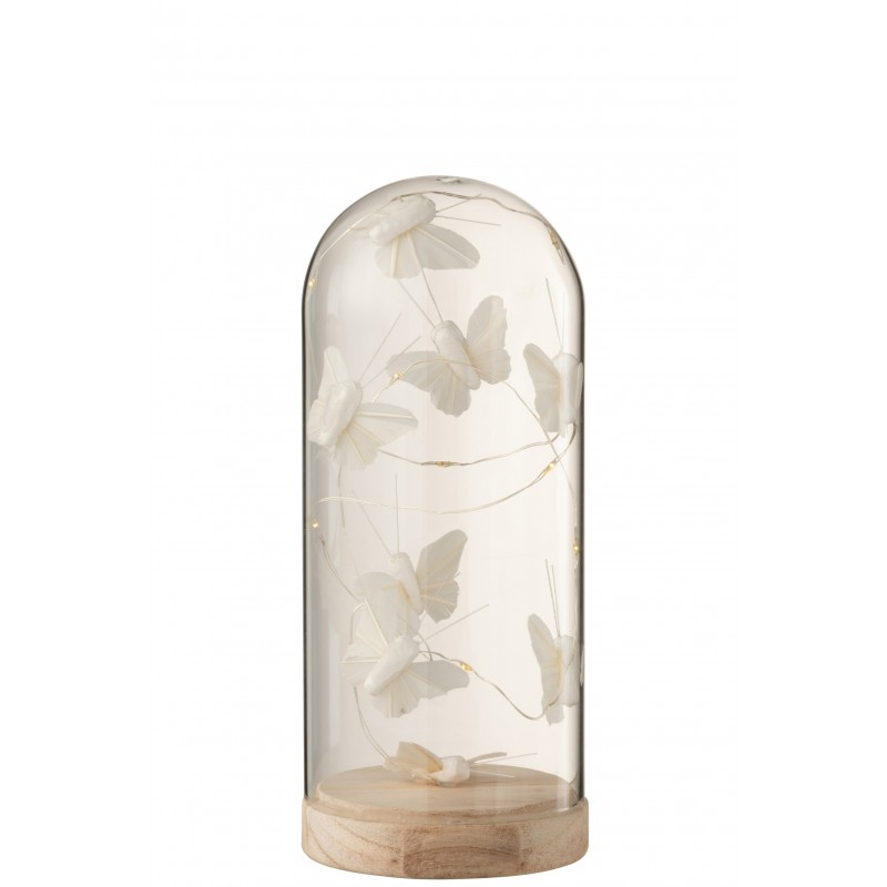 Cloche haute led papillons verre/bois blanc H22cm