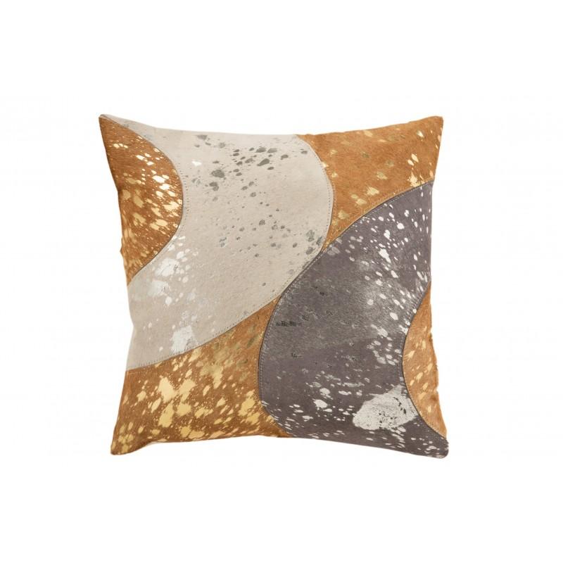 Coussin carré cuir argent 45x45cm